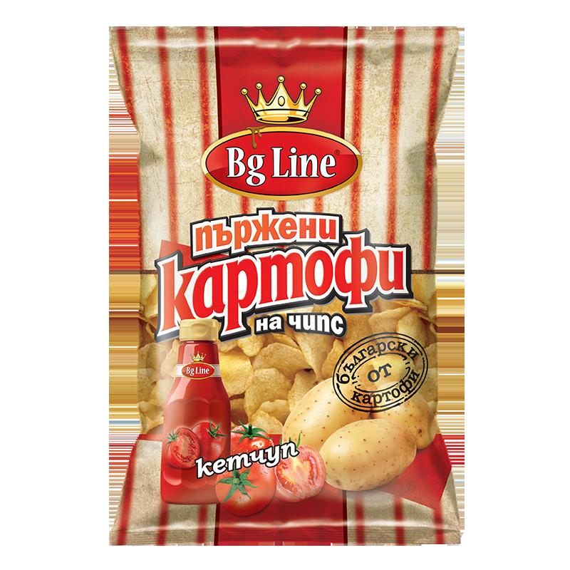 Пържени картофи с кетчуп