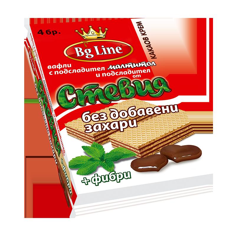 В-ли Bg Line Стевия с какаов пълнеж 90 гр